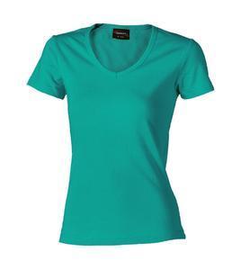 Tričko dámské krátký rukáv v-výstřih, aquamarine | XL