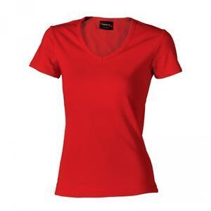 Tričko dámské krátký rukáv v-výstřih, red   | S