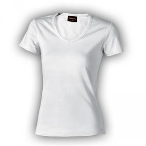 TRIČKO DÁMSKÉ KRÁTKÝ RUKÁV V-výstřih, white | XL