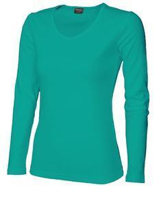 Tričko dámské dlouhý rukáv v-výstřih, aquamarine | XXL