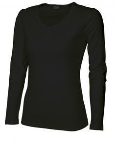 Tričko dámské dlouhý rukáv v-výstřih, black   L