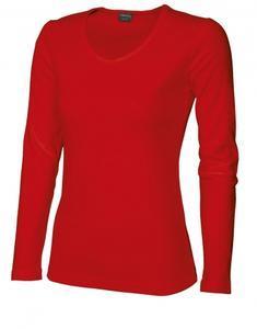 Tričko dámské dlouhý rukáv v-výstřih, red | XXL