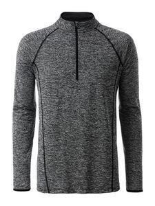 Pánské sportovní triko dlouhý rukáv, Black Melange | M