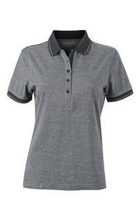Polokošile dámská single jersey melír, black melange/ black | S - 1