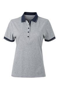 Polokošile dámská single jersey melír, grey heather/ navy | XL - 1