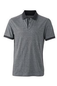 Polokošile pánská single jersey melír, black melange/ black | S - 1