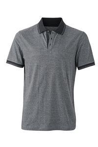 Polokošile pánská single jersey melír, black melange/ black | M - 1