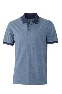 Polokošile pánská single jersey melír, blue melange/ navy | 3XL - 1