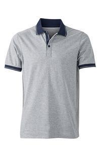 Polokošile pánská single jersey melír, grey heather/ navy | XL - 1
