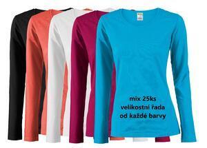 Tričko dámské dlouhý rukáv, mix barev   S, M, L, XL, XXL