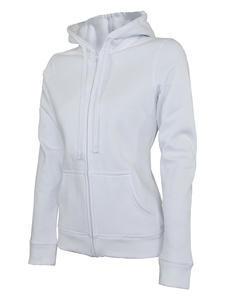 Mikina dámská s kapucí na zip, white   XL