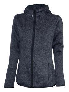 Mikina dámská s kapucí pletený fleece, black-melange | M - 1