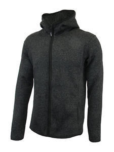 Mikina pánská s kapucí pletený fleece, black-melange | 3XL