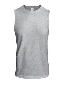 Tričko pánské bez rukávů, light melange | M