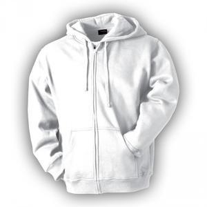 Mikina pánská s kapucí na zip, white   XL