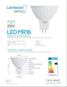 LED MR16 3W teplá - 2