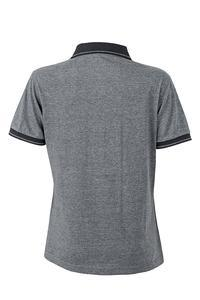 Polokošile dámská single jersey melír, black melange/ black | S - 2