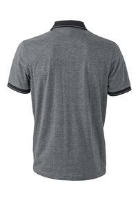 Polokošile pánská single jersey melír, black melange/ black | S - 2