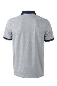 Polokošile pánská single jersey melír, grey heather/ navy | XL - 2