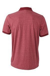 Polokošile pánská single jersey melír, wine melange/ wine | S - 2