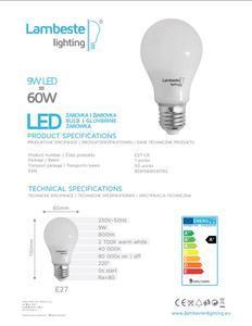LED E27  9W teplá, E27-L9 - 2