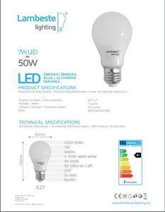 LED E27  7W Teplá, E27-L7 - 2