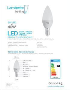 LED E14 5W neutrální, E14  - 2