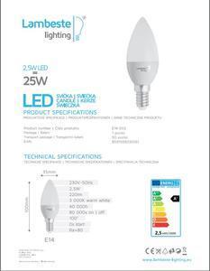 LED E14 2,5W teplá, E14  - 2