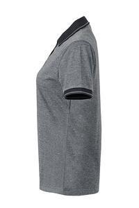 Polokošile dámská single jersey melír, black melange/ black | S - 3