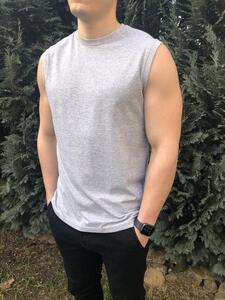 Tričko pánské bez rukávů, light melange | S - 4