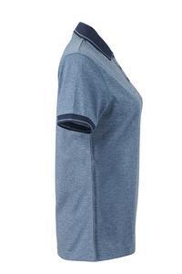 Polokošile dámská single jersey melír, blue melange/ navy | XXL - 4