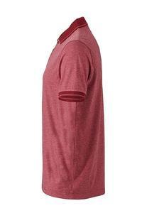 Polokošile pánská single jersey melír, wine melange/ wine | S - 4